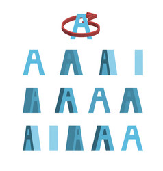 Sheet of sprites rotation of cartoon 3d letter a vector