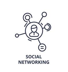 social networking line icon concept social vector image