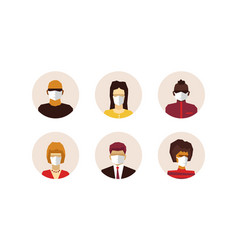 Stylized character people wearing face mask vector