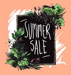 summer sale floral frame hand drawn vector image