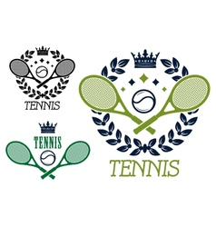 Tennis championship emblems or badges vector