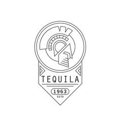 tequila vintage label design strong drink badge vector image