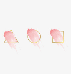 Three frames with pink brush strokes vector