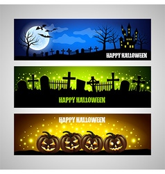 Three horizontal Halloween banners vector image