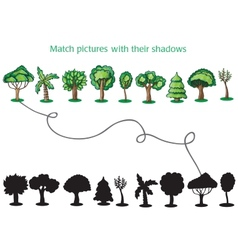 Trees and Silhoutte of trees - game for children vector image