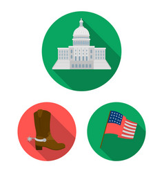 Usa country flat icons in set collection vector