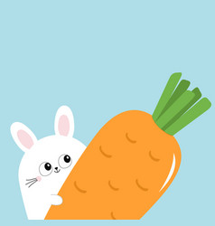 white bunny rabbit holding big carrot funny head vector image