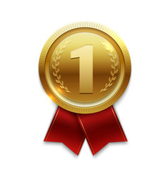 winner gold medal with red ribbons isolated on vector image