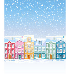 winter colorful city buildings covered in snow vector image