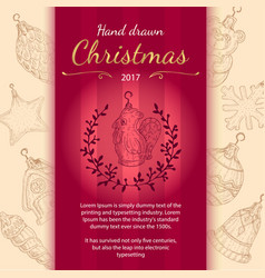 christmas invitation with toys in hand drawn style vector image