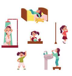 daily morning routine set little girl vector image