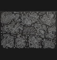 set of bathroom doodles designs vector image