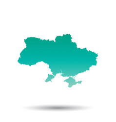 ukraine map colorful turquoise on white isolated vector image