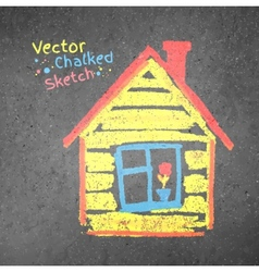 Chalk drawn house vector image vector image