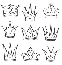 doodle style set of crown hand draw vector image