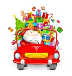 Santa Claus driving car with Christmas gifts vector image vector image