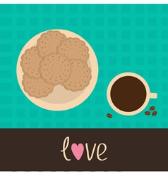 Biscuit cookie cracker on the plate and coffee vector image
