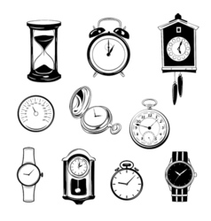 clock and watch collection black and white vector image