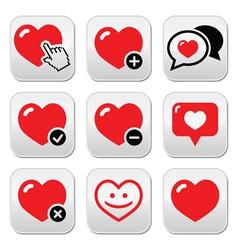 Heart love icons set vector