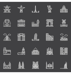 Monuments icons set vector image