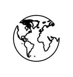 planet earth with continets icon vector image vector image