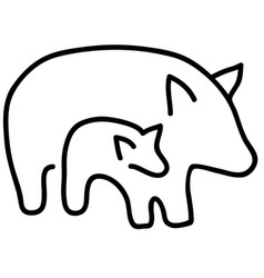 quality black and white silhouettes of pigs vector image vector image