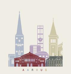 aarhus skyline poster vector image vector image