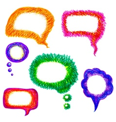 Colorful hand-drawn speech bubble pack vector image