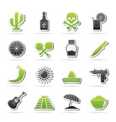 Mexico and Mexican culture icons vector image