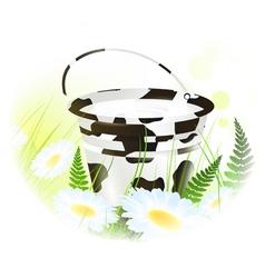 milk bucket at meadow vector image