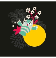 Owl with the moon banner vector image vector image