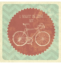 vintage styled poster bicycle vector image