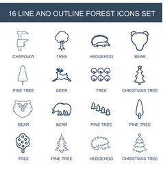 16 forest icons vector