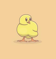 A cute yellow chicken vector