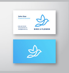 Abstract flying bird and flower logo vector