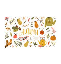 Autumn bundle cute and cozy design elements vector