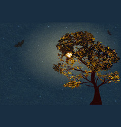 Autumn tree on background lunar night and starry vector