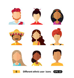 Avatars flat icon people of various nationalities vector