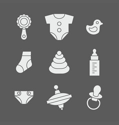 Baby things icons set vector