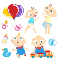 baby with toy vector image