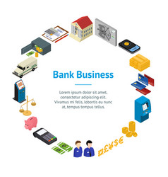 bank banner card circle isometric view vector image