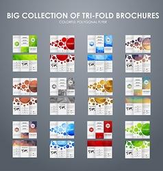 Big set of folding polygonal brochures vector image