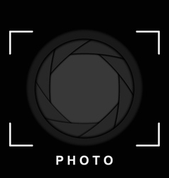 Black camera shutter aperture with space for copy vector image