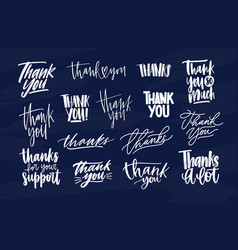 bundle of modern thank you inscriptions or vector image