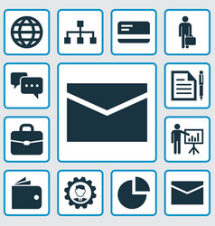 Business icons set collection of earth envelope vector