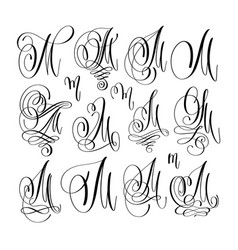 Calligraphy lettering script font m set hand vector