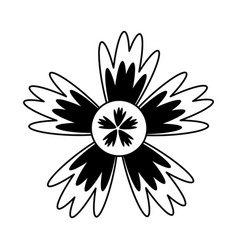 cartoon flower in black and white line icon image vector image