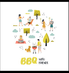 character people on bbq party barbeque and grill vector image