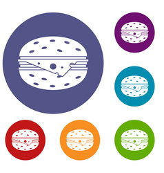 cheeseburger icons set vector image
