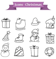 Christmas icons set of hand drawn vector